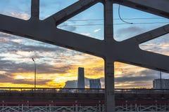 Steel railroad bridge at sundown Stock Photos