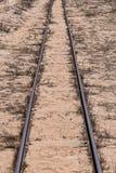 Steel Railroad Tracks on Sand Beach Стоковое Изображение RF