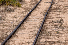 Steel Railroad Tracks on Sand Beach Стоковое фото RF
