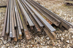 Steel rails in factory Royalty Free Stock Photos