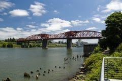 Steel railway bridge. In Portland, Oregon Stock Image