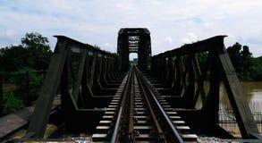 Steel Railway Bridge across the river Royalty Free Stock Photos