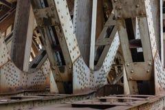 Steel railway bridge. Design of steel railway bridge Stock Image