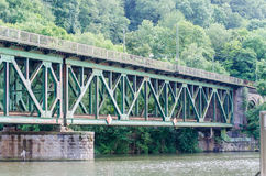Steel railway bridge. Old riveted steel bridge for the movement of trains over the Ruhr in Essen Kettwig Stock Image