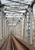 Steel railway bridge Stock Photo
