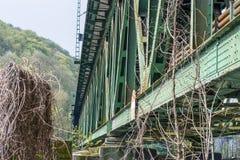 Steel railway bridge. Railway bridge of steel for pedestrians and cyclists on the Ruhr in Essen Kupferdreh Stock Photos