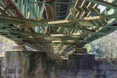 Steel railway bridge. Railway bridge of steel for pedestrians and cyclists on the Ruhr in Essen Kupferdreh Stock Photo