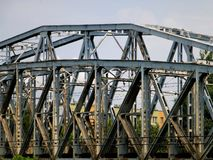 A steel railway bridge in Przemysl, Poland stock photography