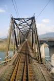 Steel railway bridge under blue sky. Details from a steel railway bridge in China Royalty Free Stock Image