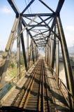 Steel railway bridge under blue sky. Details from a steel railway bridge in China Royalty Free Stock Images