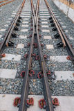 Steel railway tracks. On the big station Stock Images