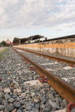 Steel railway tracks. At the station Stock Photos