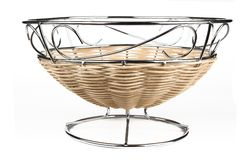 Steel and rattan fruit basket Stock Image