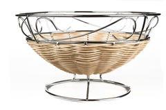 Steel and rattan fruit basket. Modern style fruit basket made of steel wire and rattan decoration Stock Image