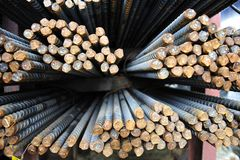 Steel re-bar. For building construction Royalty Free Stock Image