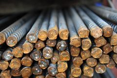 Steel re-bar. For building construction Royalty Free Stock Photo
