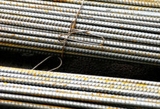 Steel rebar. Bundles of steel rebar wired together Stock Image