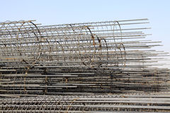 Steel rebar component in a construction site Stock Images