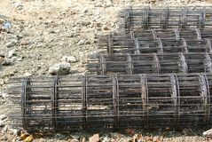 Steel rebar. Component in a construction site Stock Images