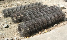 Steel rebar. Component in a construction site Stock Image