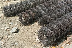 Steel rebar. Component in a construction site Royalty Free Stock Photos