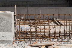 Steel rebar and concrete divider being constructed at constructi Stock Photography