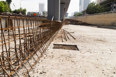 Steel rebar and concrete divider being constructed at constructi Stock Images