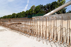Steel rebar and concrete divider being constructed at constructi Stock Image