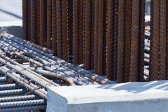 Steel rebar in a construction site in a construction site. Outdoor Royalty Free Stock Images