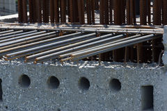 Steel rebar in a construction site in a construction siter. Steel rebar in a construction site in a construction site outdoor Stock Images