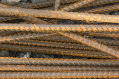 Steel rebar. Prepared for use in construction site Royalty Free Stock Images