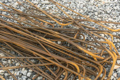Steel rebar. Prepared for use in construction site Stock Photo