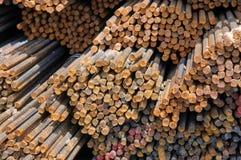 Steel rebar stacked Stock Image