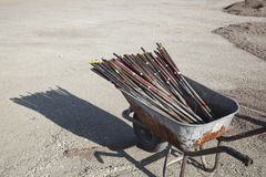 Steel rebar in a wheelbarrow Stock Images