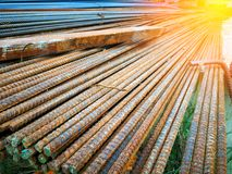 Steel rebars for construction is rust. royalty free stock photos