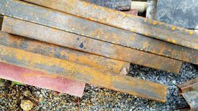 Steel Rebars from demolished building. With rust Royalty Free Stock Photography