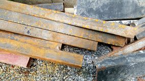 Steel Rebars from demolished building. With rust Stock Photos