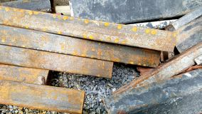 Steel Rebars from demolished building. With rust Stock Photography