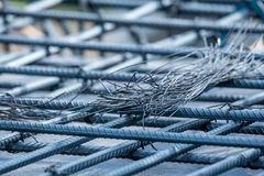 Steel rebars for reinforced concrete with wire Stock Images