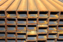 Steel rectangle pipes. For mechanical engineering Stock Photography