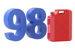 Steel red jerrycan with 98 gasoline Stock Image