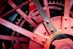 Steel and red mechanisms changes the land royalty free stock images