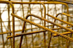Steel reinforcement. Close up of concrete reinforcing steel. With space for copy stock photos