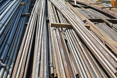 Steel reinforcement bars. Steel rods or bars used to reinforce concrete Stock Image