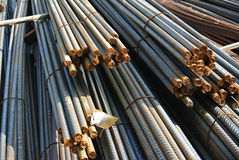 Steel reinforcement bars. Steel rods or bars used to reinforce concrete Stock Photo