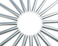 Steel reinforcement in a circle Stock Photos