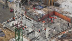 Steel reinforcement in the construction of building. Aerial view time lapse stock video footage