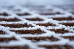 Steel reinforcement mat. In winter condition in a flat perspective Stock Image