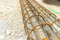 Steel reinforcement of piling work Royalty Free Stock Photos