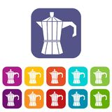Steel retro coffee pot icons set. Vector illustration in flat style in colors red, blue, green, and other Stock Images
